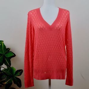 NWT 1901 Pointelle V-Neck Sweater - Coral - XL